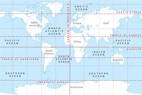 Continents, lines of latitude and longitude, oceans and